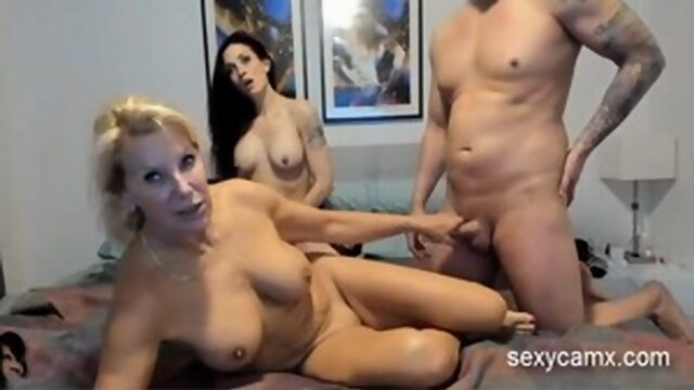 Cum swap strapon threesome with two horny milfs live at sexycamx Xnxx brunette